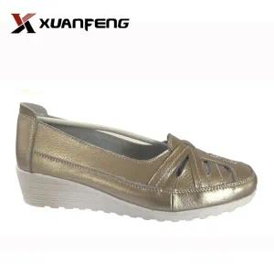 Popular Lady Casual Leather Shoes with TPR Sole