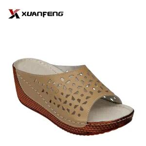 Popular Comfortable Leisure Women Leather Slipper
