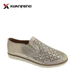 Bling Bling Women′s Leather Loafers Casual Shoes