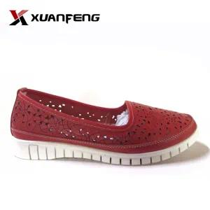 Ladies Genuine Leather Casual Loafers Shoes with Rb Sole