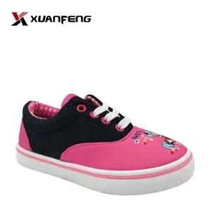 Wholesale Colorful Girl′s Pink Injection Casual Canvas Shoes